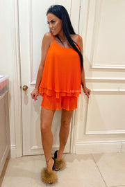 Pleat Short Set - Orange