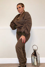 Ruched Gold Chain Trackie - Khaki