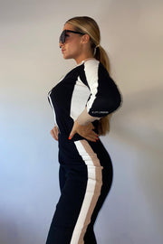 Knit Zip Long Sleeve Lounge Set - Black/Beige/White