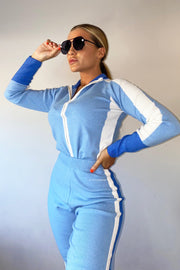 Knit Zip Long Sleeve Lounge Set - Blue & White