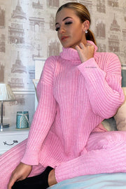 Roll Neck Knit Set - Pink
