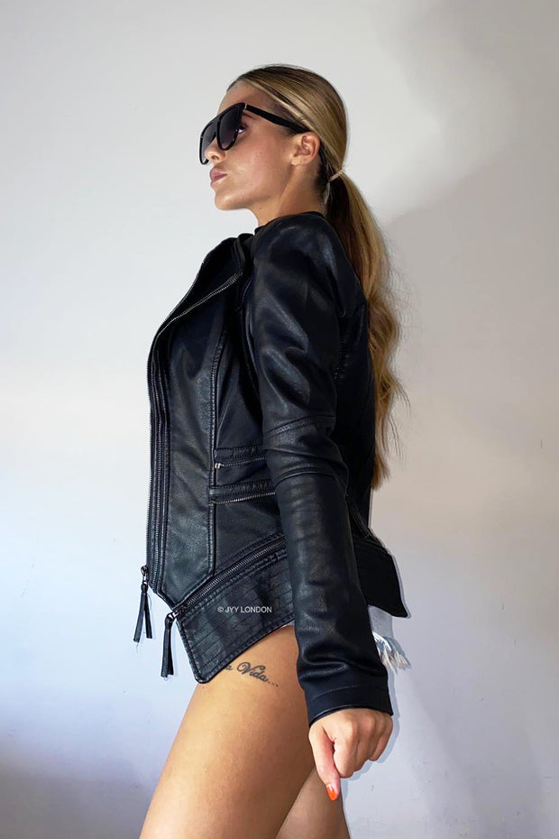 Faux Leather Biker Jacket - Black