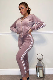 Velour Two Stripe Tracksuit - Light Pink