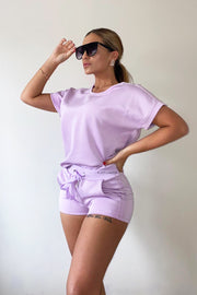 Glitter Two Stripe Short Set - Lilac