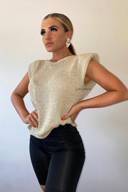 Metallic Padded Shoulder Vest - Gold