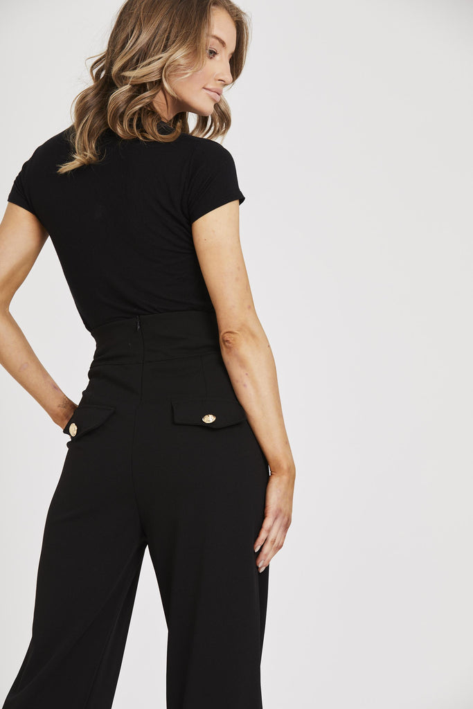 Military High Waisted Trousers - Black