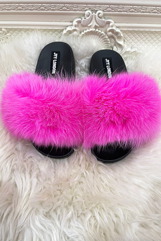 Faux Fur Sliders - Neon Pink