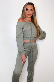 Off The Shoulder Tracksuit - Khaki