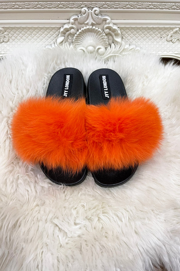 Faux Fur Sliders - Orange