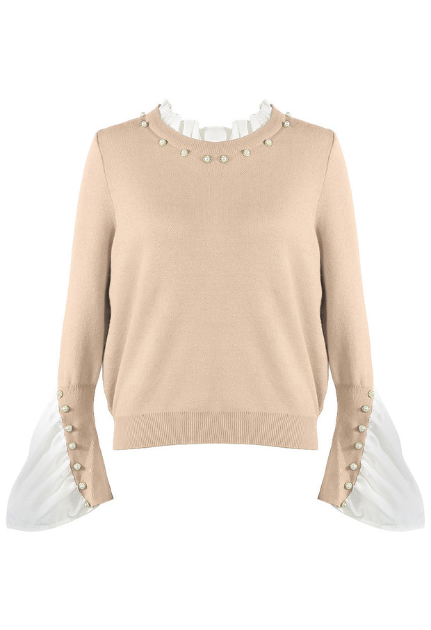 Pleated Cuff Pearl Jumper - Beige