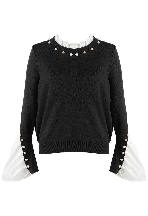Pleated Cuff Pearl Jumper - Black