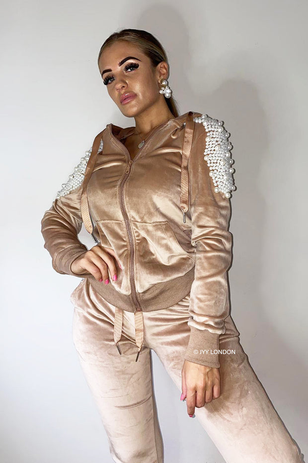 Pearl Zip Tracksuit - Beige PREORDER 8TH FEB