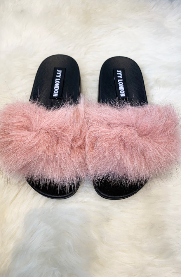 Faux Fur Sliders - Pink