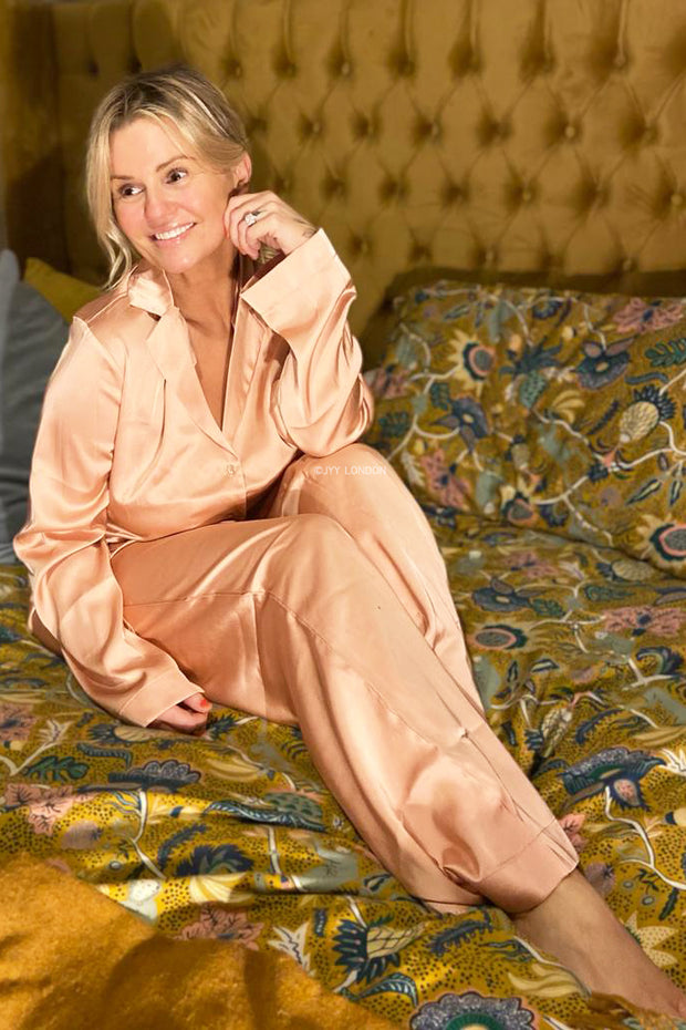 Long Sleeve Satin PJ's - Pink