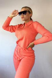 Polo Zip Lounge Set - Coral