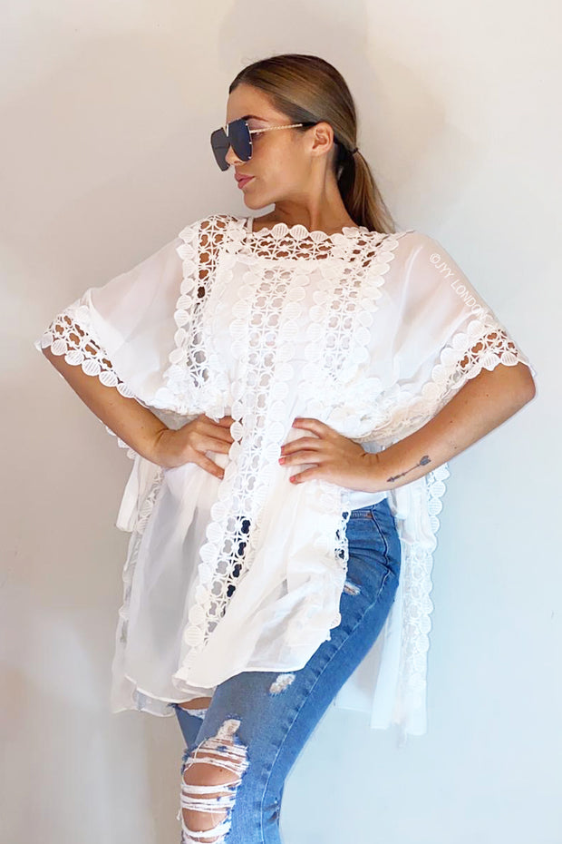 Beach Crochet Poncho - White