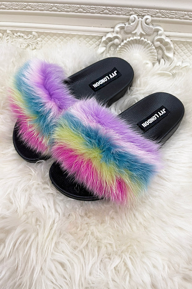 Faux Fur Sliders - Rainbow