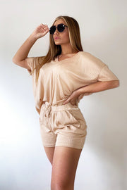Ribbed Short Set - Cream