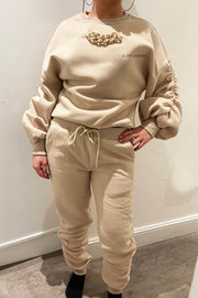 Ruched Gold Chain Trackie - Beige