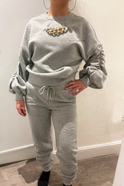 Ruched Gold Chain Trackie - Grey