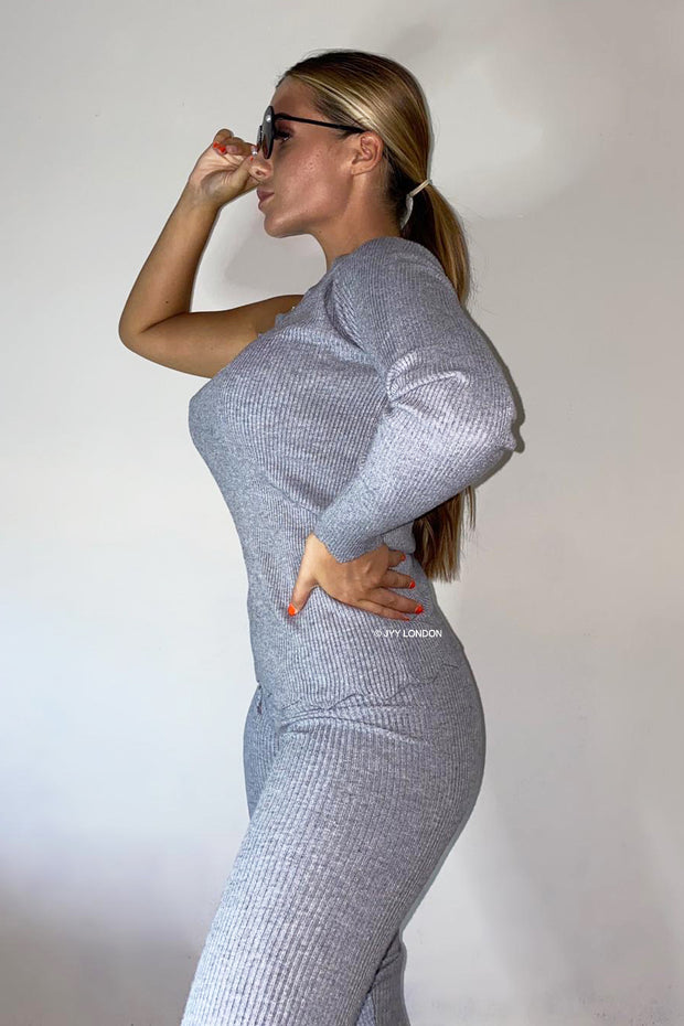 One Shoulder Scallop Knit Set - Grey