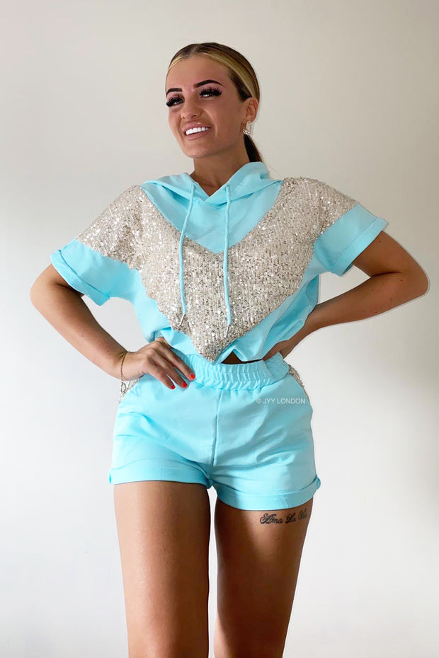 Sequin Hoodie Short Set - Blue