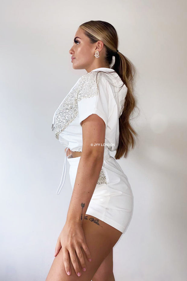 Sequin Hoodie Short Set - White
