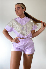 Sequin Hoodie Short Set - Purple