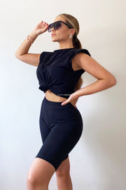 Padded Shoulder Tshirt & Short Set - Black