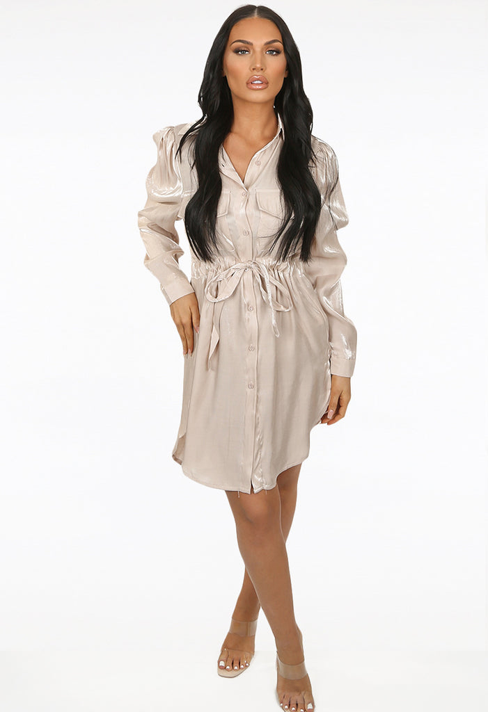 Shimmer Shirt Dress - Nude