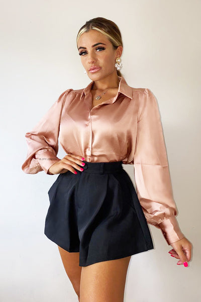 Tailored Flared Shorts - Black
