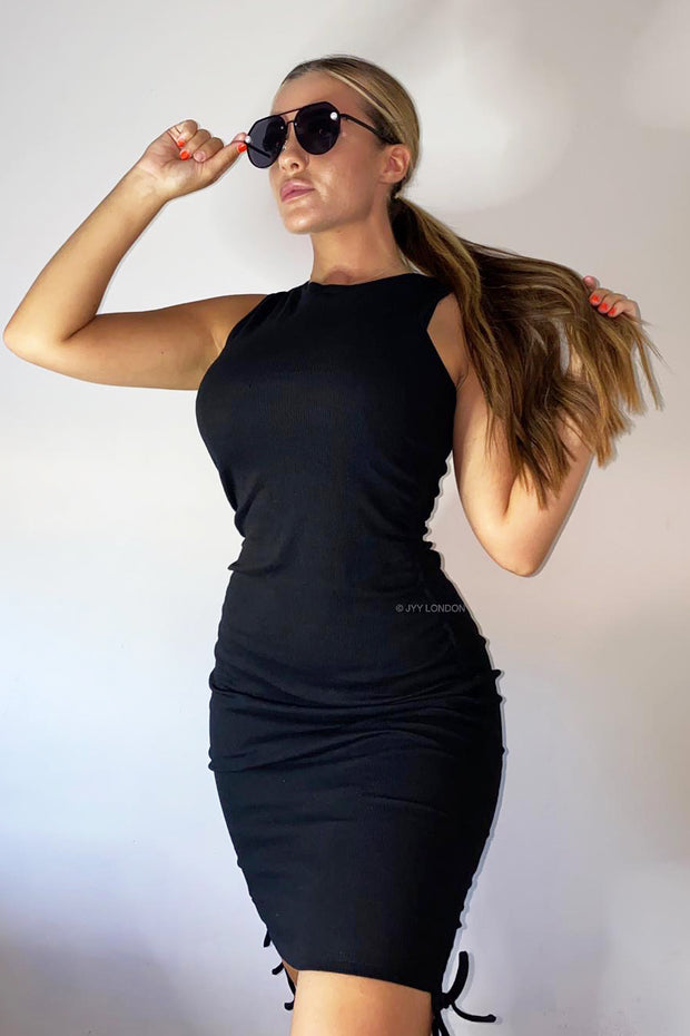 Side Ruched Midi Dress - Black
