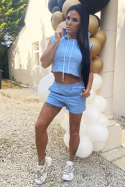 Sleeveless Hoodie Short Set - Blue