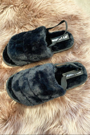 Faux Fur Slippers - Black