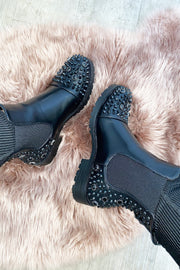 Spike Diamond Boots - All Black