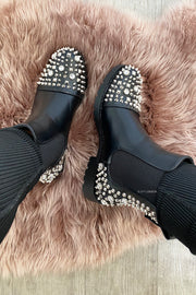 Spike Diamond Boots - Black&Silver