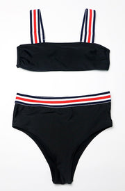 Stripe High Waisted Bikini - Black