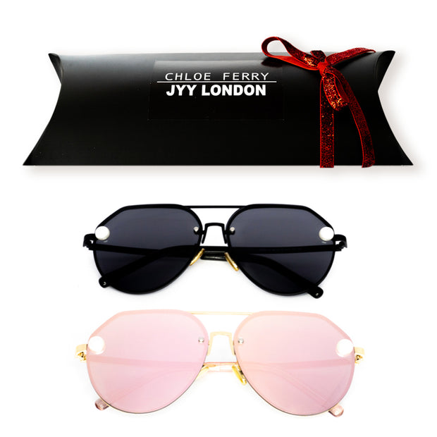 GIFT BOX - Pearl Black & Pearl Rose Gold Sunglasses PREORDER