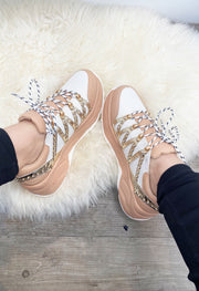 Diamante Stud Sneakers - Nude & White