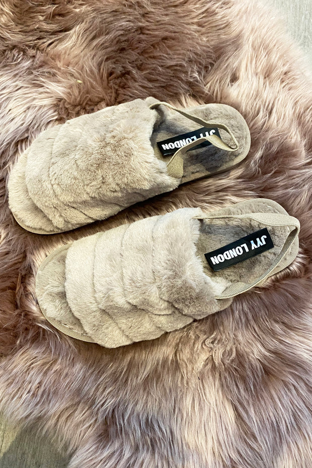 Faux Fur Slippers - Taupe
