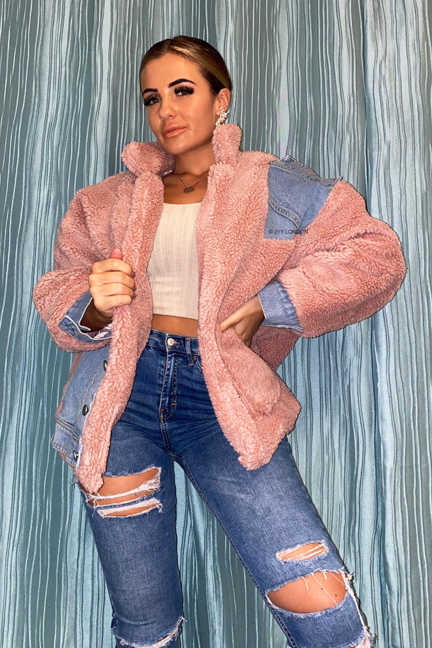 Teddy Denim Jacket - Pink