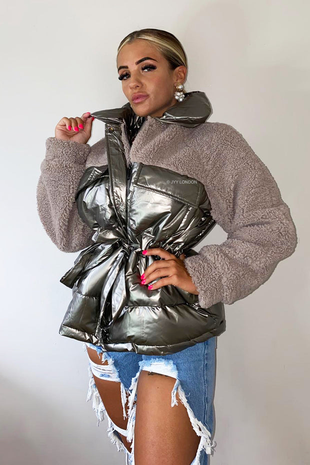 Shiny Teddy Puffer Coat - Bronze