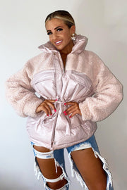 Shiny Teddy Puffer Coat - Pink