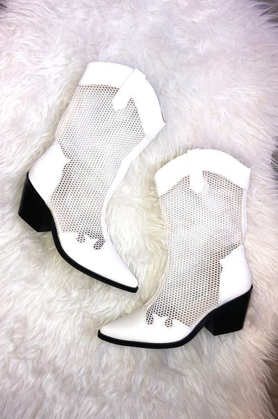 Western Mesh Boots - White