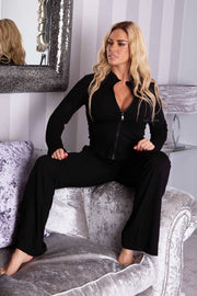 Zip Up Wide Leg Lounge Set - Black