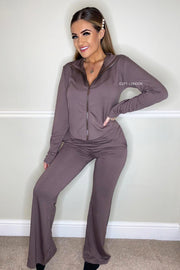 Zip Up Wide Leg Lounge Set - Mocha