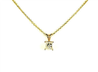 Princess cut diamond solitaire pendant, good quality