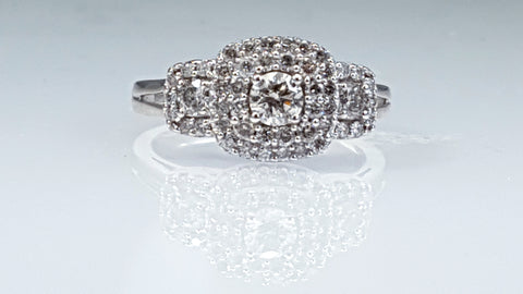 Pave set diamond anniversary ring