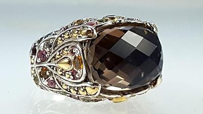 Sterling silver & 18k Y/G multi color stone ring