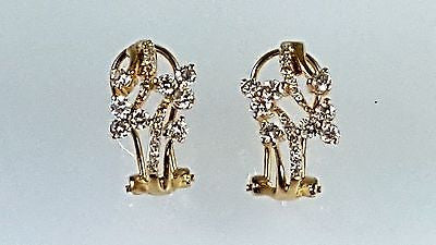 14k yellow gold clip on diamond earrings